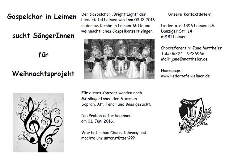 Projektchor Flyer